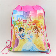 24x37cm Cartoon Princess Non-woven Fabric Drawstring Bag For Kids Favor Birthday Party Decoration School Backpack Gift Bag 10pcs(China)