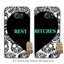 MaiYaCa Colourful Style Design Plastic couple PC Cell phone case Best Bitches Friends Retro For Samsung Galaxy s6 edge Plus(China)