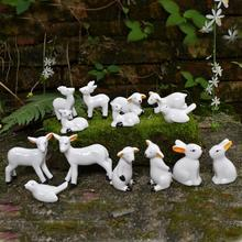 Cute Animal Ceramics Figurines White Bird Rabbit Sheep Figure Statues Ornaments Handmade Modern Decorative Crafts Home Decor(China)