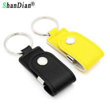 SHANDIAN Hot sell metal leather keychain pendrive usb flash drive 32GB 8GB commercial usn flash drive Memory Stick free shipping(China)