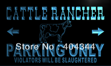 LZ170- Cattle Rancher Parking Only   LED Neon Light Sign    home decor shop crafts