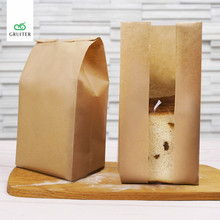 New 12*9*30cm Blank Kraft Paper Toast Bread Bags Bakery Cookies Bag Cake Packing W/Food Grade Greaseproof Takeout Pouch 100/Pack