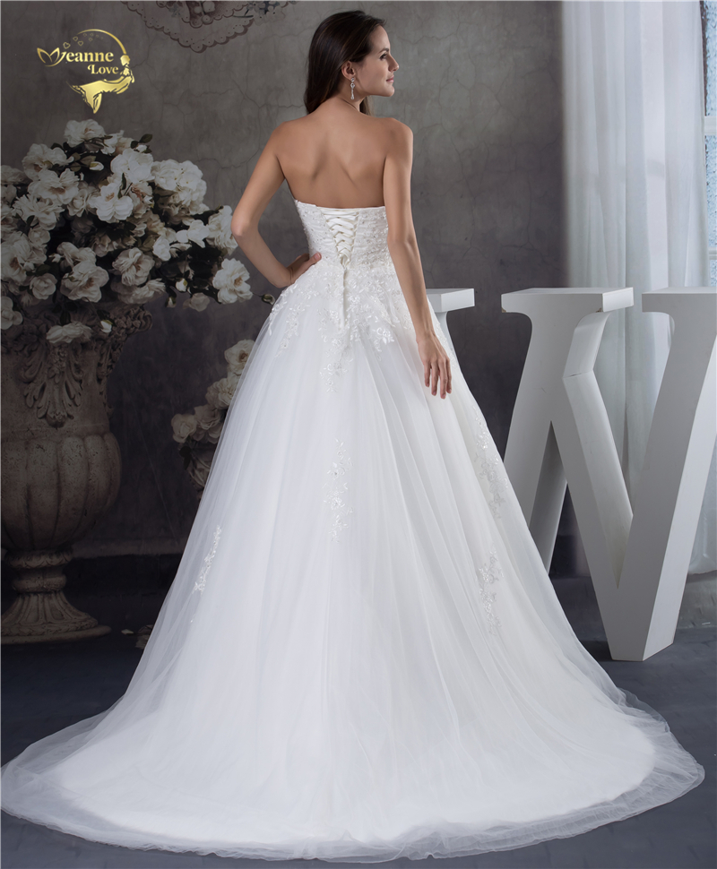 Jeanne Love Soft Tulle Sweetheart Wedding Dresses Perfect 2018 New Applique Lace Bridal Gown A Line Robe De Mariage JLOV75951 3