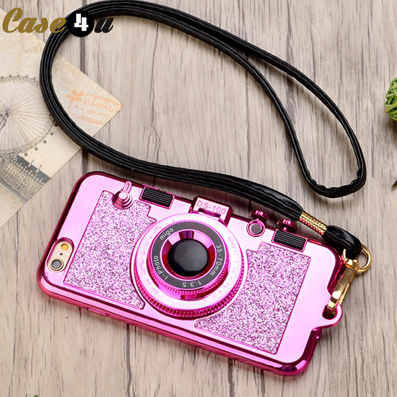 Vintage 3D Camera Bling Glitter Mirror Stand Phone Cases iPhone X 6s 7 8 Plus iPhone6 iPhone7 fundas Silicone Cover Necklace