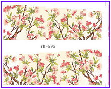 Nail Sticker Full Cover Plum Cherry Blossoms Water Transfers Stickers Nail Decals YB595-600(China)