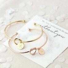 New Fashion women men lovers bracelet Hot Rose Gold/Silver Alloy Letter Charm Bracelet Female Personality Jewelry(China)