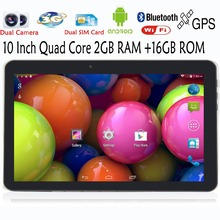 Phone Call Tablet 10 inch Android 4.4 3G MTK Quad core Dual Camera  SIM FM GPS Bluetooth 3G Phablet 2GB 16GB cheap tablet pc