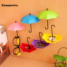 3pcs/lot Umbrella Shaped Creative Key Hanger Rack Decorative Holder Wall Hook For Kitchen Organizer Bathroom Accessories(China)