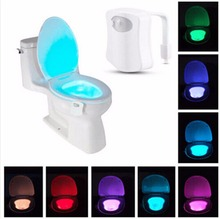 New 8 Colors Multi-function LED Motion Sensing Automatic Bowl Night Toilet Lights Bathroom Lamp Home Decoration