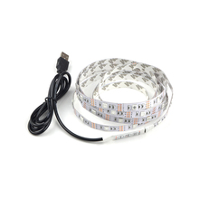 DC5V USB Port LED Strip Light 0.5M 1M 2M White/ Warm White/ RGB Led Decorative Lamp String Tape 3528 5050 SMD For TV Background