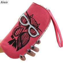 Hot Selling Lovely Glasses Owl Wallet Long Design Women Wallets Leather Clutch Bag Zipper Coin Purse Ladies Handbag Wallets
