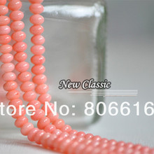 6*4MM 95Pcs Pink Rondelle Type Natural Stone Loose Coral Bead Strands Jewelry Beads Findings(China)