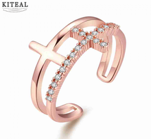 Best Gift rose Gold color engagement ring double cross zircon toe ring anillos to.us bear oso