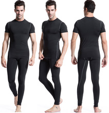 Men's Running T Shirts Quick Dry Yogaing wear suit bodybuilding gym t shirt men lycra compression tights running basketball(China)