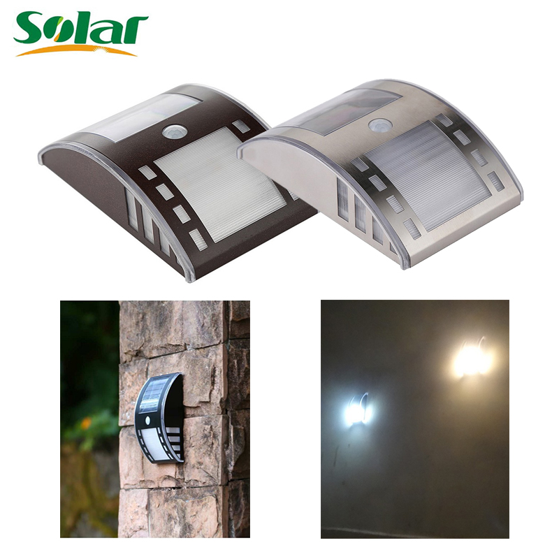 Newest Solar Light Stainless Steel Motion Sensor Lights LED PIR Street Wall Garden Outdoor Solar Lamp Powered Lamps(China (Mainland))