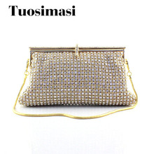 Golden Rhinestones Women Crystal Clutch Evening Bags Wedding Party Bridal Chains Shoulder Bag Metal Mesh Clutches Soft Handbags(China)