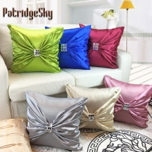 PatridgeSky 1PC Washed Satin Silk Handmade Diamond Ironing Square Decorative Cushion Covers Throw Pillowcases Pillow Case Cover
