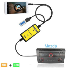 DOXINGYE USB AUX Mp3 Player Adapter Car Digital Music Cd Changer 3.5mm for Mazda 2/3/5/6/CX7/MX5/MPV/Miata/Tribute/RX8 interface