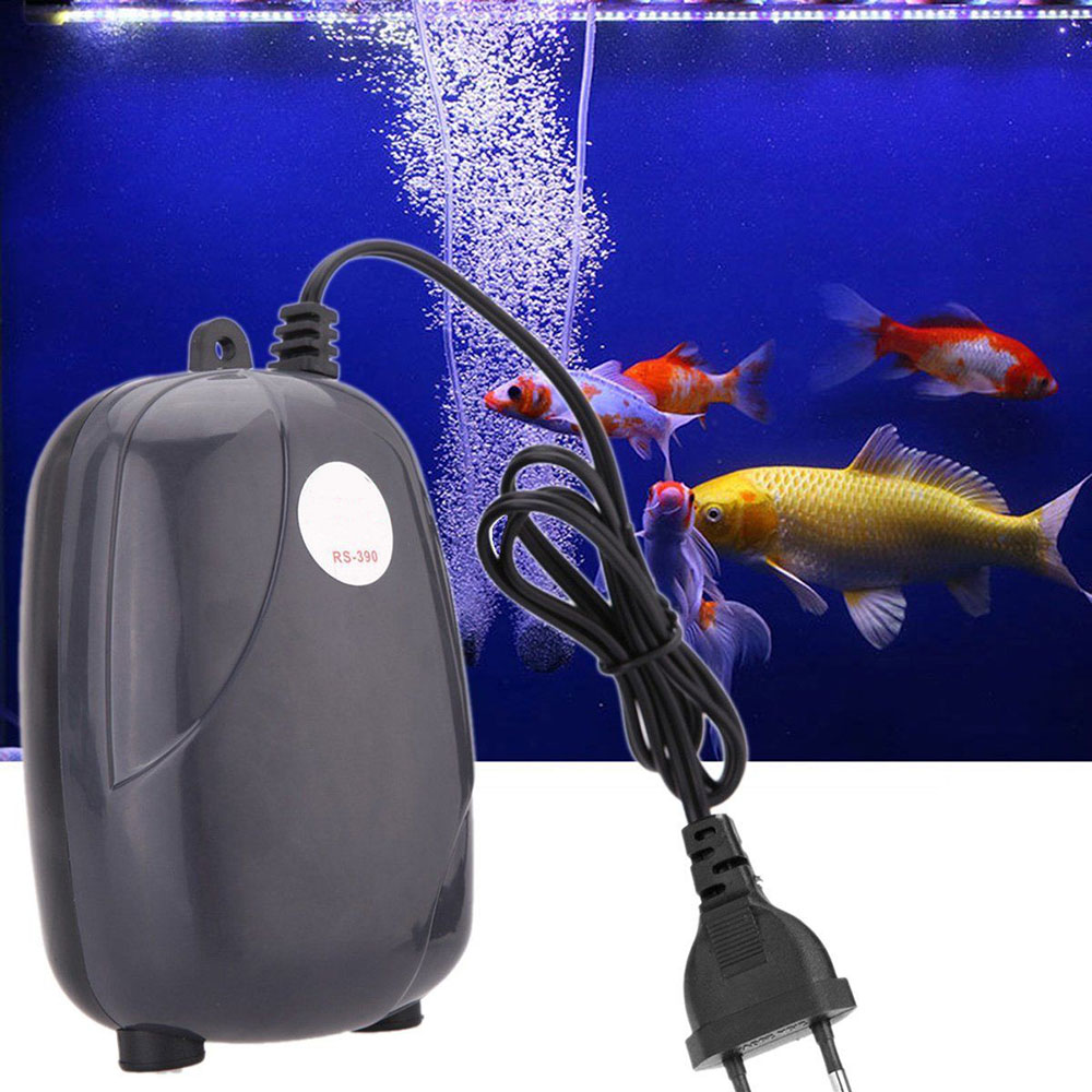 3W Super Silent Adjustable Aquarium Air Pump 220V Fish Tank Oxygen Air Accessories Fish Aquatic Single Double Outlet Supplies  (1)