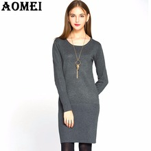 Women Winter Sweater Dresses Jumper Slimming fit Warm Crochet Knee Length Tricot Inverno Sweter Fall Dress Solid Tunics Clothing(China)
