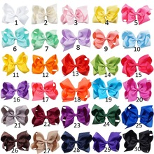 "30 Pcs/lot 6"" Plain Ribbon Knotted Hair Bow With Clip For Kids Girls Handmade Boutique Hair Accessories With Clip Headwear"