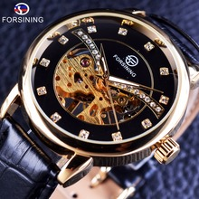 Forsining 2017 Fashion Transparent Diamond Display Golden Skeleton Movement Mens Watches Top Brand Luxury Mechanical Clock