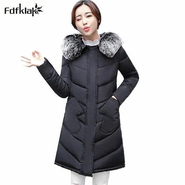 Large fur collar winter jacket women fashion 2017 winter coat womens slim cotton jacket hooded outerwear coats parka femme Îäåæäà è àêñåññóàðû<br><br>