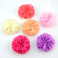 100pcs/lot 6.0cm Artificial Fabric Chiffon Flower for Dress Kids Headband Flower Accessory Hair Floral Flatback TH220(China)