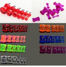 Wholesale 12pcs Acrylic Saddle UV Flesh Tunnels Transparent Ear Plug Expander(China)