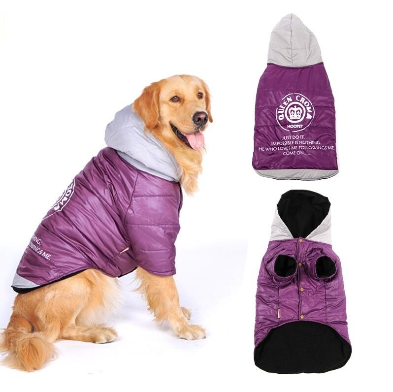 NEW Purple Large Dog Hoodie Coat Pet Jacket Warm Cotton-padded Two Feet Clothes Thicken Hoodie coat jacket 3XL 4XL 5XL 6XL 7XL