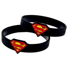 Promo Gift New Arrival 25PCS/Lot Superman Wrist Watch Shaped Silicone Wristband Bracelet Adult Size