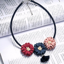 Hot Sale Collares Women Jewelry Handmade Necklaces Boho Maxi Choker Necklace Gothic Red Pink Fabric Flower Pendants For Women