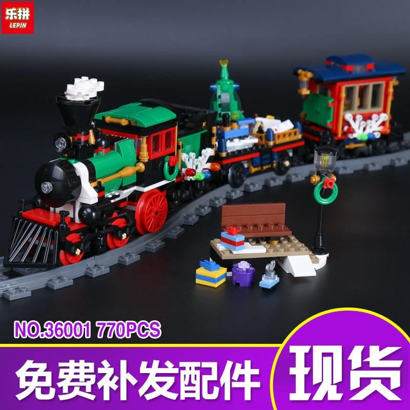 36001 770Pcs Creative The Christmas gift Winter Holiday Train Set Children Educational Building Blocks Bricks Toys 10254 LP031<br>