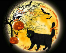 DIY diamond embroidery Night scenery cat 3D diamond painting cross stitch kits mosaic crafts hobby Halloween Pumpkin needlework(China)