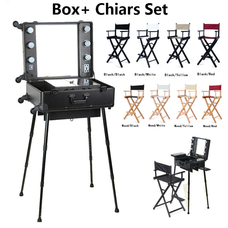 2 Pieces Makeup Case With Lights And Aluminum Chair Foldable Artist Hairdressing 8 Colors