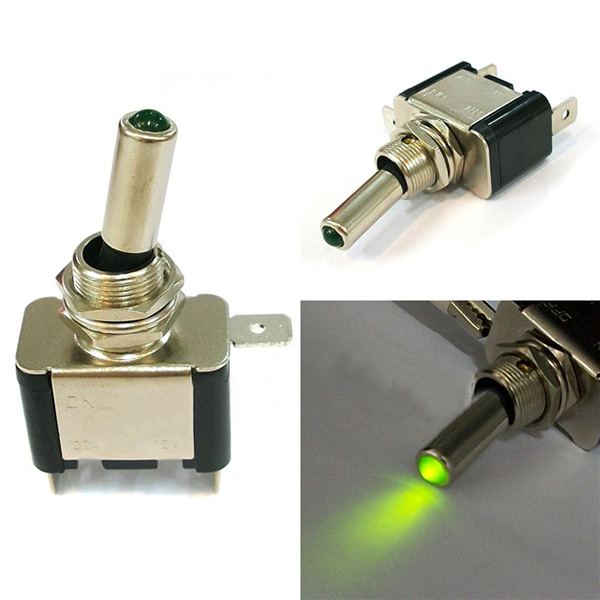 New Car Light LED DC 12V 20A Toggle ON/OFF Black + Silver Switch Green Light <br><br>Aliexpress
