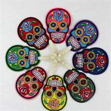 Free shipping lovers clothes 8Pcs rose skull flower logo embroidery patch fashion iron on patches for clothing fabric DIY