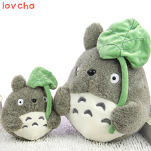 1pcs 25cm Japane anime my neighbor totoro plush doll stuffed toys totoro with lotus leaf totoro plush toys for kids gifts(China)