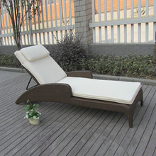 Outdoor / Indoor Cane Sun Lounger , Rattan Wicker Lounge Chair Set transport by sea(China)