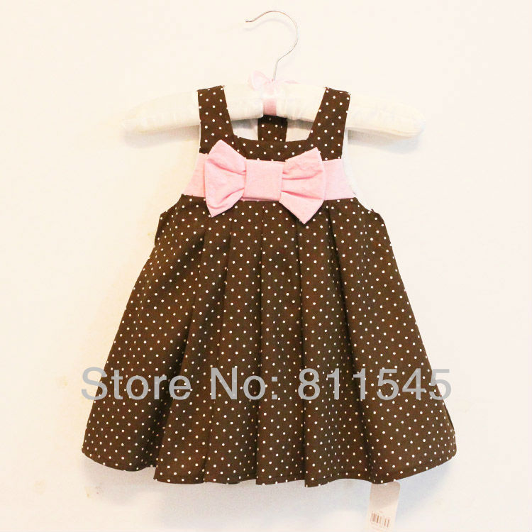 Size 6T, Polka Dots Brown Baby Dress for Girls Outfits with Pink Bowknot Summer Kids Clothes Toddler Clothing Childrens Wear<br><br>Aliexpress