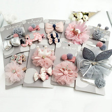 2-3pcs/set Girls' Hairclips Set Mix Style Lace Crown Cotton Floral Hairbow with Clips Handmade Children's Boutique Headdress