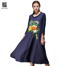 Outline Summer Women Vintage Dress Loose Plus Size Flower Embroidery O-neck Wrist Sleeve Linen Elegant Long Party Dress L151Y034