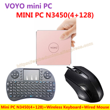 VOYO VMac Mini PC V1 Windows 10 Pocket PC(4GB RAM+128GB SSD) Intel Lake Apollo N3450+Wired Mouse+Wireless Keyboard=N3450 KIT-E-A