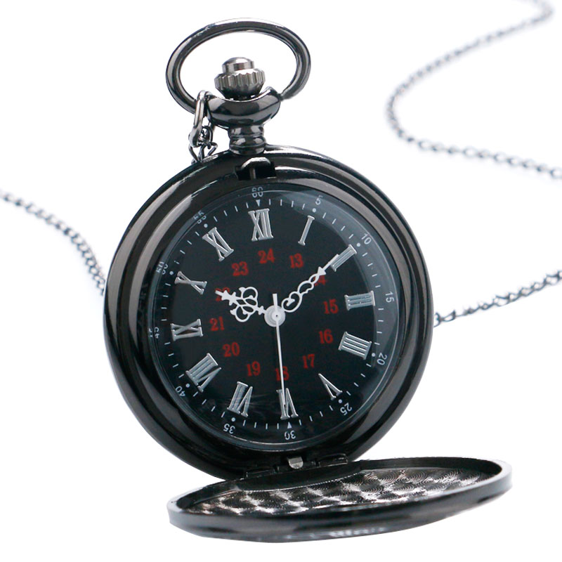 Vintage Black Unisex Pocket Watch Gift Set Fashion Roman Number Quartz Steampunk Christmas Women Man Necklace with Gift Box (3)