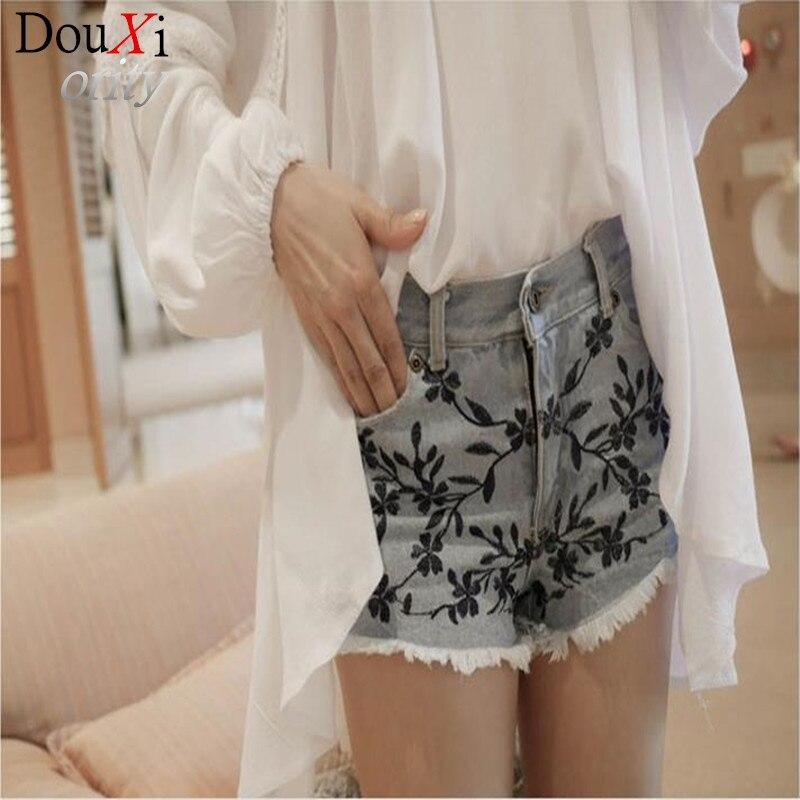 new summer  women Shorts jeans plum embroidery Regular high - waist denim shorts wide leg nostalgiaОдежда и ак�е��уары<br><br><br>Aliexpress