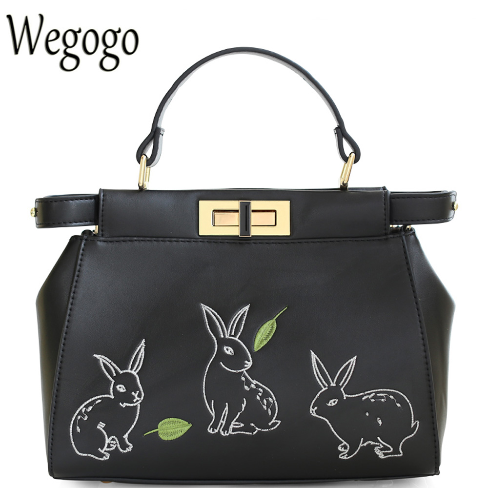 2017 New Lolita Vintage Cute Lady Animal Rabbit Embroidery Womens PU Crossbody Totes Solid Black Shoulder Messenger Bags<br>
