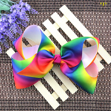 Cute Girls Rainbow Hairbows Baby Kids Hairclips Barrettes Child Big Bowknot Hairgrips Children's Hairpins Hair Accessories(China)