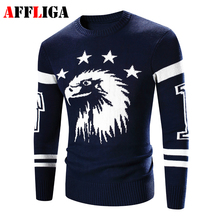2017 New Brand Clothing Eagle Printed Men Sweaters Warm Pullovers Knitting Fashion Designer Casual Men Knitwear Jersey Hombre