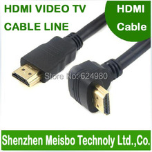 High density speed 90 degree elbow Gold Plated plug flat 1.5m 5ft HD connector monitor 1.4V 3D STB to TV HDMI cable(China)