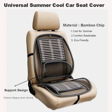 KKYSYELVA 1pcs Car seat Cover Summer Cool Lumbar support Auto Vehicle Bamboo Seat Cushion Cover Black Car Seat Protector